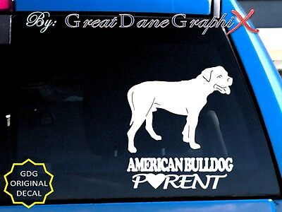 American Bulldog PARENT(S) - Vinyl Decal Sticker / Color Choice - HIGH QUALITY
