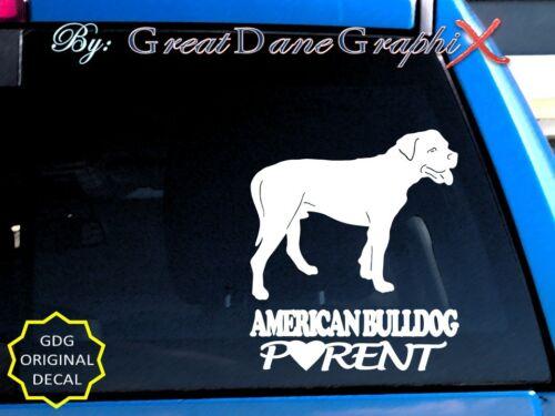 American Bulldog PARENT(S) - Vinyl Decal Sticker / Color Choice - HIGH QUALITY