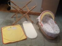 Moses basket with cover,hood,mattress,blanket and a foldable basket stand-the lot for £15