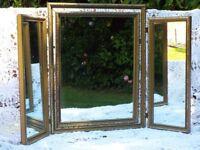 Vintage Dressing Table top Mirror triple 3 Section Fold Tilt Gold gilt wooden frame