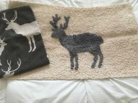 Stag bath mat and hand towel set