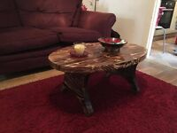 Coffee table,handmade,solid wood, hand-scorched pine