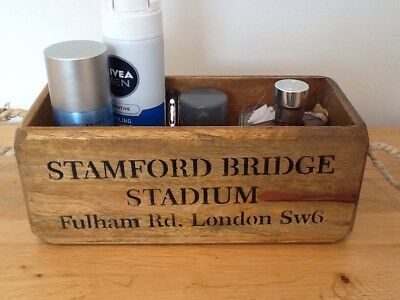 STAMFORD BRIDGE STADIUM RETRO STYLE WOODEN CRATE. CHELSEA FAN GIFT Chelsea Stamford Bridge