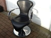 Retro look Hairdressers hydraulic chair in black and chrome,ideal office or man cave