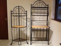 Matching pair of freestanding black iron units with beech shelves