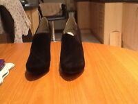Marks& Sparks black suede ladies size6 wide fitting worn once 4in heel excellent condition