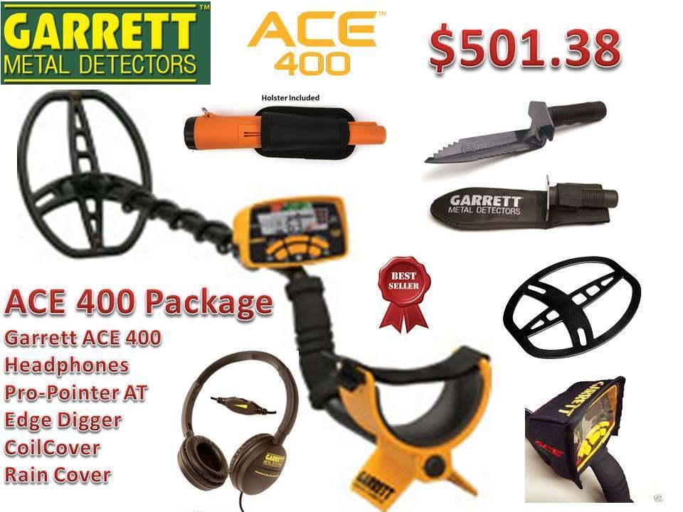 Garrett ACE 400 Metal Detector w/ Pro-pointer AT Pinpointer & Edge Digger