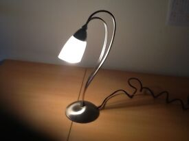 Brushed chrome touch control table lamp