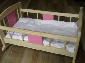 Doll's Wooden Rocking Cradle John Crane