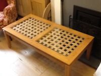 Coffee tables one long 121 x 68cms wide plus matching nest of tables 68x40cms & 45x36cms glass tops