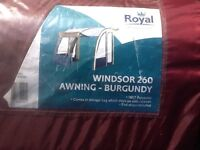 ROYAL WINDOR 260 PORCH AWNING IN BURGUNDY