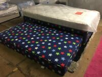 New Single Divan Bed Base in Blue Star Pattern with a White Airsprung Mattress Pull Out Guest Bed