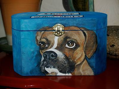 Custom hand painted dog urn portrait memorial Wood box Pet URN Boxer urn wooden