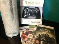 Microsoft Xbox 360-white console plus controller and 2 games