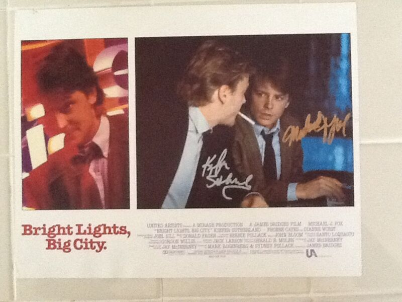 Michael J Fox & Kiefer Sutherland  SIGNED Lobby Card 1988 Bright Lights Big City