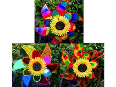 Rainbow Double Petal Wind Spinner/Great Gift/Yard/Garden/Decoration