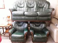 Green Leather 3 piece suite Copley Mill LOW COST MOVES 2nd Hand Furniture STALYBRIDGE SK15 3DN