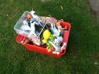 Box of assorted Children's plastic toys