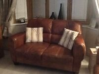 3 seater plus 2 seater tan leather sofas for sale.