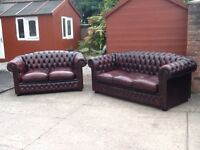 Leather chesterfield suite 3 seater and 2 seater sofas antique oxblood red can deliver free locally