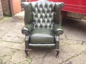 LEATHER CHESTERFIELD QUEEN ANNE CHAIR ANTIQUE GREEN LEATHER QUALITY PIECE OF FURNITURE CAN DELIVER