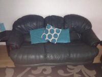 3 seater couch and 2 reclining chairs very heavy leather in great condition