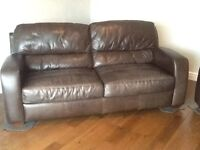 Brown leather 3 piece suite from Leekes