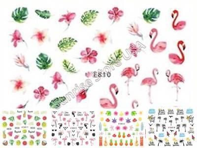 11 Design 3D Nail Art Sticker Summer Palm Tree Flamingo Bird Fruit Flower Decals ()
