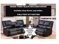 LEATHER BLACK RECLINER SOFA 2 + 3