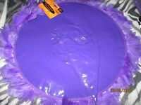 PURPLE PVC LARGE WITCH HAT PURPLE WITH FEATHER TRIM NEW WITH TAGS ON GREAT FOR HALLOWEEN