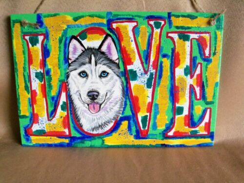 "Custom painted ""LOVE"" SIGN from YOUR dog photo hand painting art pet commission"