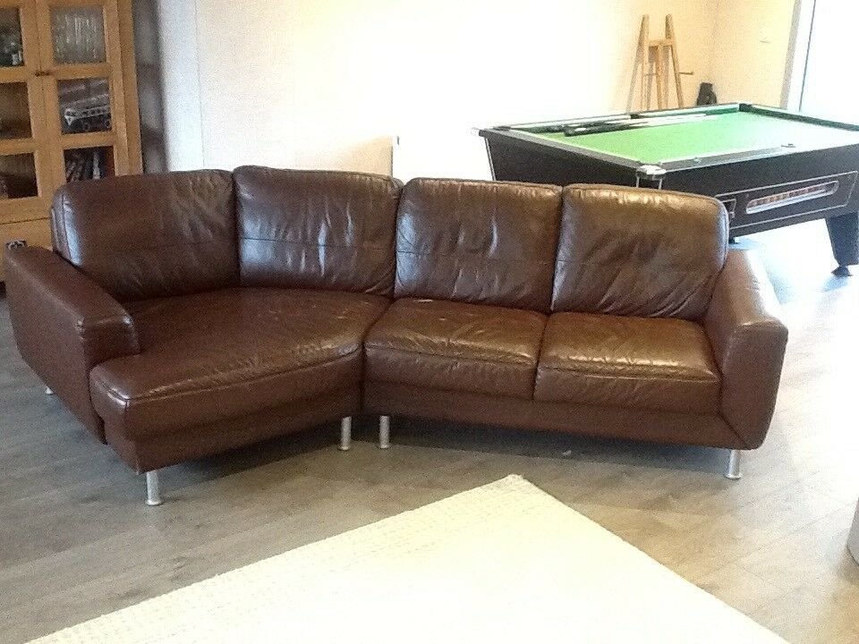 Leather Sofa Unusual Corner Splits Into Two For Easy Transport Clean