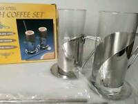 Brand New boxed set of 2 Irish Coffee Glasses With Stainless Steel Straw Spoons and Saucers