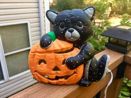 Vintage Scioto Halloween Lighted Hand Painted Jack-o-Lantern Pumpkin Black Cat