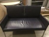 Black Leather Office Sofa