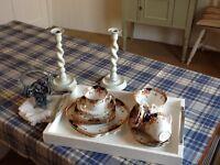 ROSLYN China Tea Set, Candlesticks and Glass Basket (Can Split)