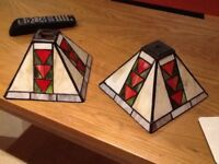 Leaded stained glass lamp shades x 4