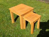 Solid European oak nest of 2 tables