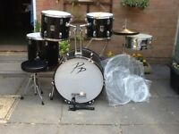 Second hand Performance Percussion drum kit. New skins & stool