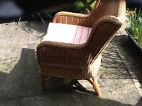 LAURA ASHLEY WICKER BASKET CHAIR AND CUSHION