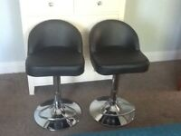 Pair of Black Leather and Chrome Adjustable Bar Stools