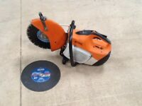 STIHL TS410 MASONARY SAW IN GOOD WORKING ORDER WITH NEW DIAMOND BLADE AND NEW DISC FOR CUTTING STEEL