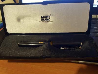 MONTBLANC 14k GOLD FOUNTAIN PEN NEW IN BOX Fine BLACK unused CLASSIC Mont Blanc