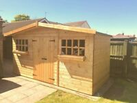 14X10FT HEAVY DUTY DOUBLE DOORS RANCH TIMBER GARDEN SHED