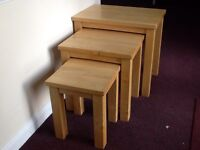 Large modern solid oak nest of tables