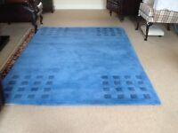 Large woollen handmade Indian floor mat in blue