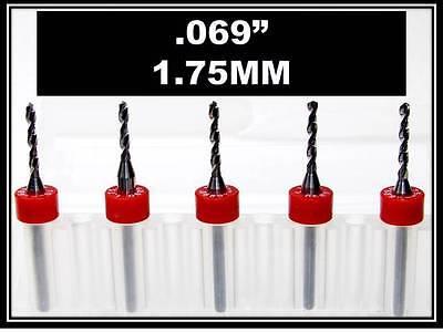 .069 - 1.75mm - 18 Shank Carbide Drill Bits Five Pcs Wood Plastic Metal Cnc R