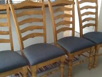4 pine dining room chairs - rustic oak finish EXCELLENT CONDITION