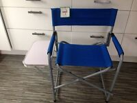 New folding Directors Chair in Blue with Side Table