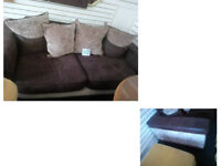BEAUTIFUL BROWN SUEDE AND FABRIC LARGE 2 SEATER SOFA WITH MATCHING CUSHIONS ULTIMATE COMFORT/DESIGN